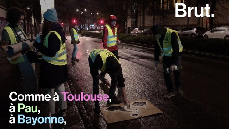 VIDEO. À Rennes, des militants d'ANV-COP 21 tracent des pistes cyclables sauvages (BRUT)