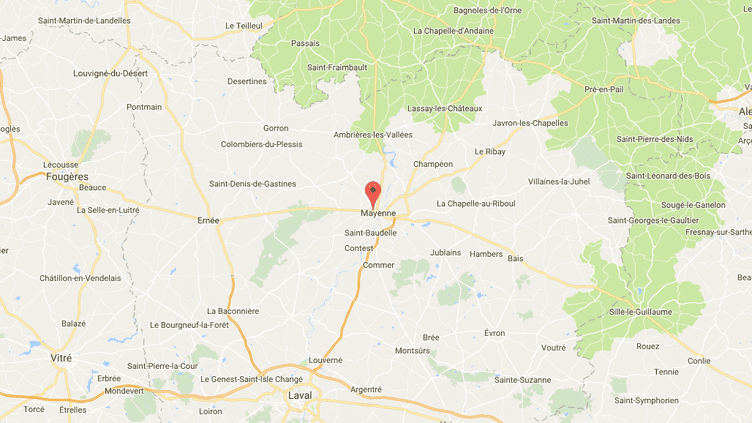 Mayenne dans le département de Mayenne. (GOOGLE MAPS)