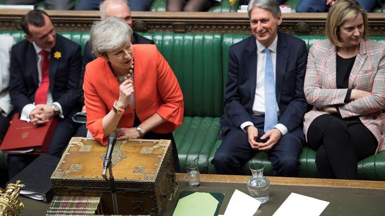 La Première ministre britannique, Theresa May, à la Chambre des communes du Royaume-Uni, le 27 février 2019. (JESSICA TAYLOR / UK PARLIAMENT / AFP)