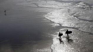 Des surfers à Biarritz, le 18 décembre 2015, où le thermomètre a indiqué 22°C. (REGIS DUVIGNAU / REUTERS)