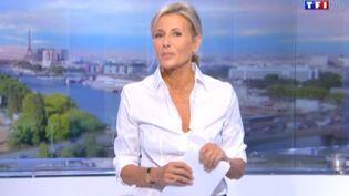 Claire Chazal présente son dernier JT sur TF1, le 13 septembre 2015. (TF1)