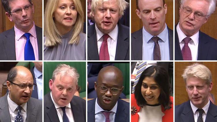 Combinaison de captures d'images filmées par le Parlement. Steve Baker, Esther McVey, Boris Johnson, Dominic Raab, David Davis, Shailesh Vara, Guto Bebb, Sam Gyimah,Suella BravermanetJo Johnson (de gauche à droite et de haut en bas) font partie des ministres ou des secrétaires d'Etat à avoir quitté le gouvernement britannique en raison de désaccords sur le Brexit (HO / PRU)