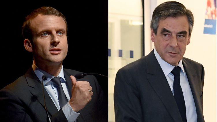 Emmanuel Macron et François Fillon (montage). (LOIC VENANCE / BERTRAND GUAY / AFP)