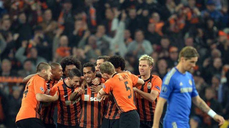 Les joueurs du Shakhtar Donetsk, heureux après l'ouverture du score