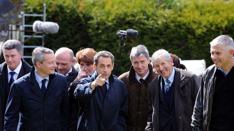 Nicolas Sarkozy à Vouvray (Indre-et-Loire), le 23 avril 2012. (ALAIN JOCARD / AFP)