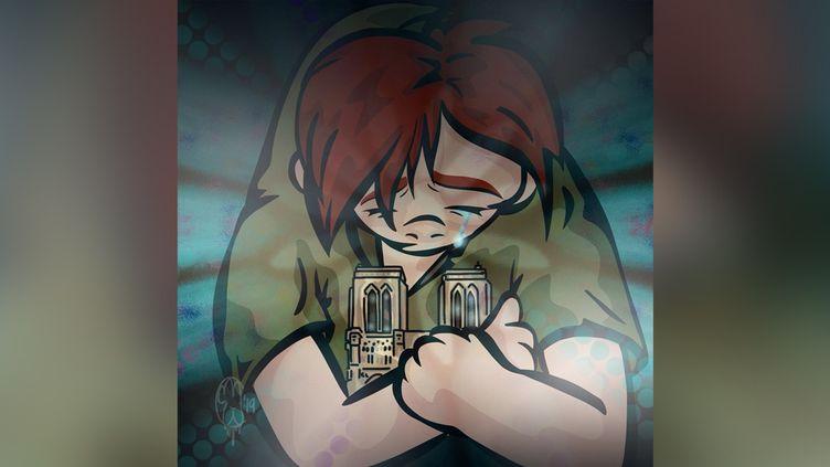 Dessin en hommage à l'incendie de Notre-Dame de Paris. (TWITTER)