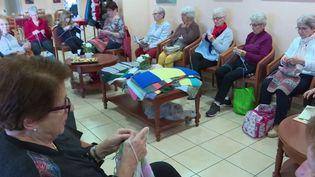 Dans une résidence seniors de Saint-Brévin-les-Pins (Loire-Atlantique), des tricoteuses sont à l'oeuvre depuis plus d'un mois. Elles se sont lancées un énorme défi qui permettra d'habiller le pont de Saint-Nazaire. (France 3)
