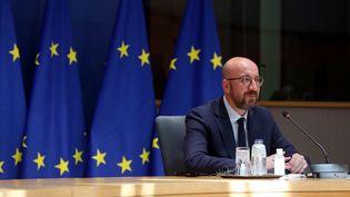 Le président du Conseil européen,Charles Michel, lors d'une réunion avec les présidents de la Commission européenne et de l'Eurogroupe, le 1er juin 2021. (FRANCOIS WALSCHAERTS / AFP)