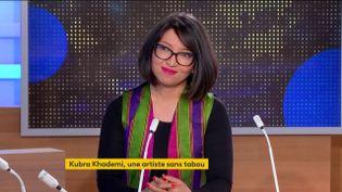 Kubra Khademi, artiste plasticienne et performeuse, était l'invitée du journal de 23 Heures de franceinfo, samedi 10 avril. (FRANCEINFO)