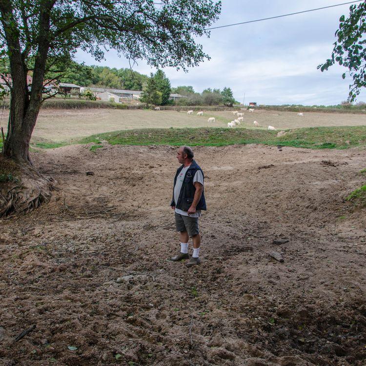 L'éleveur Luc Jeannin au milieu d'une rivière asséchée, le 2 octobre 2018 à Saint-Eugène (Saône-et-Loire). (THOMAS BAÏETTO / FRANCEINFO)