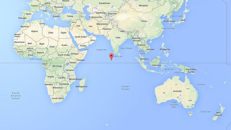 Les Maldives se sont mises à leur tour à la recherche de débris du vol MH370 après l'identification quasi-certaine, le 5 août 2015, d'un débris retrouvé à La Réunion. (GOOGLE MAPS)