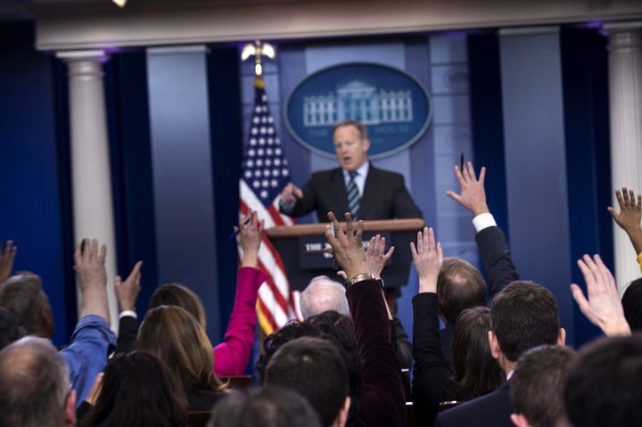 La salle de presse de la Maison Blanche, à Washington, mercredi 25 janvier 2017. (BRENDAN SMIALOWSKI / AFP)