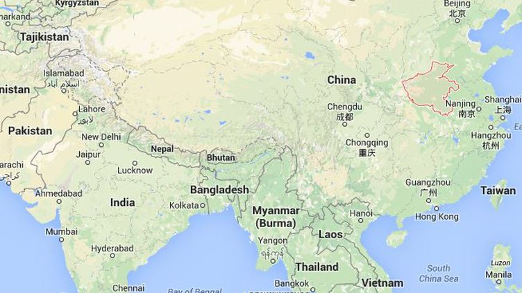 Capture d'écran de Google Maps montrant la province chinoise du Henan où une femme a coupé le pénis de son mari à deux reprises, fin décembre, rapporte la presse chinoise, le 16 janvier 2015. ( GOOGLE MAPS)