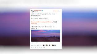 """Capture d'écrand'un tweet d'Alexandre Astier annonçant le début du tournage d'un film tiré de la série """"Kaamelott"""", le 22 janvier 2019. (TWITTER)"""
