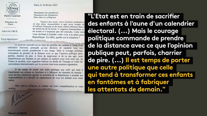 Extrait de la lettre adressé mercredi 17 février à l'ensemble des parlementaires par les députés Pierre Laurent etPierre Morel-À-L'Huissier. (FRANCEINFO / RADIOFRANCE)