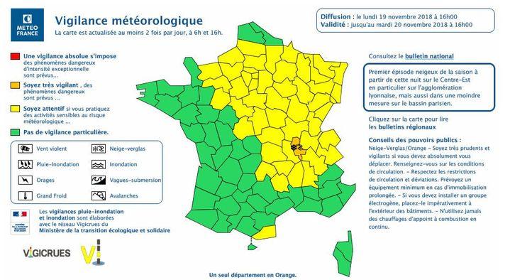 Météo France a placé le département du Rhône en vigilance orange neige et verglas, lundi 19 novembre. (METEOFRANCE)