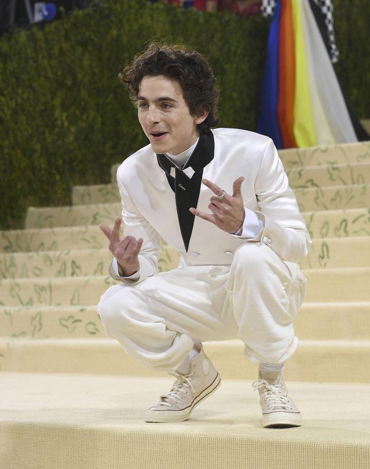 L'acteur Timothée Chalamet au gala du Met, lundi 13 septembre 2021 à New York (Etats-Unis). (EVAN AGOSTINI/AP/SIPA / SIPA)
