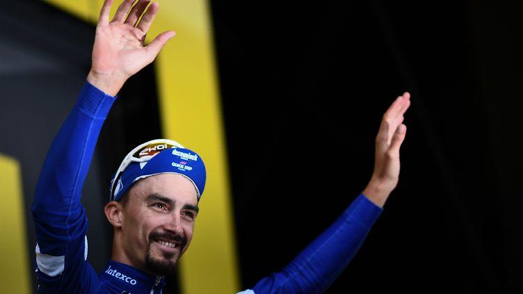 Julian Alaphilippe lors du Tour de France, le 25 juillet 2019 à Valloire (Savoie). (ANNE-CHRISTINE POUJOULAT / AFP)