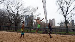 De quoi pousser ces Américains à resortir les tenues de plages, et à improviser une partie de beach volley au milieu de Central Park, le 24 décembre. (DON EMMERT / AFP)