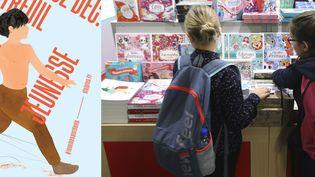 L'affiche du Salon du livre et de la presse jeunesse en Seine Saint-Denis, et photo du salon en novembre 2017 (JACQUES DEMARTHON / AFP et SLPJ Affiche)