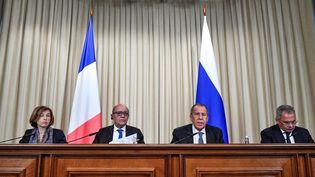 Florence Parly, Jean-Yves Le Drian,Sergei LavrovetSergei Shoigu à Moscou le 9 septembre 2019. (ALEXANDER NEMENOV / AFP)