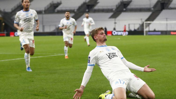 Michaël Cuisance, auteur du but décisif face à Rennes, face aux Rennais le 10 mars 2021. (GUILLAUME HORCAJUELO / EPA)