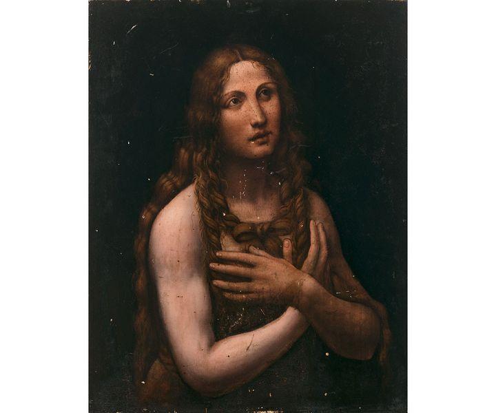 """Gian Giacomo CAPROTTI dit SALAÌ, """"La Madeleine pénitente"""", vers 1515-1520 Panneau de bois tendre Estimation : 100 000 - 150 000 € (ARTCURIAL)"""