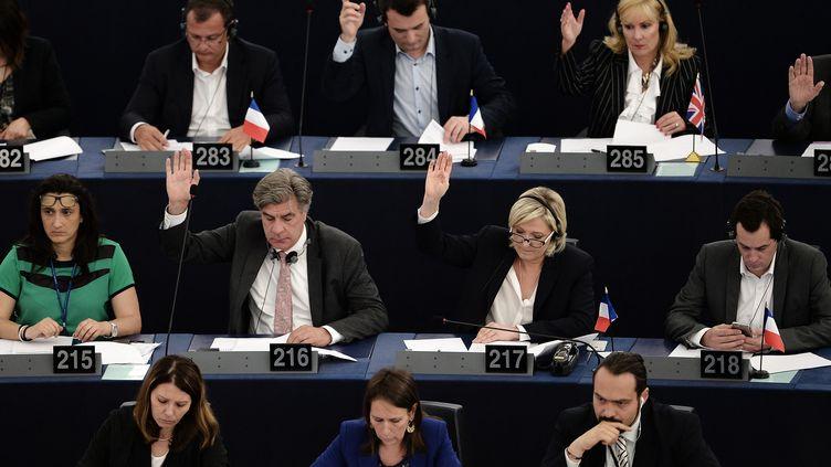Des eurodéputés du Rassemblement national, notamment Marine Le Pen et Nicolas Bay, à Strasbourg en juillet 2016. (FREDERICK FLORIN / AFP)