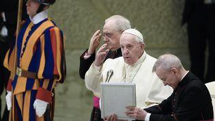 Le pape François lors de son audience hebdomadaire au Vatican, le 12 février 2020. (FILIPPO MONTEFORTE / AFP)