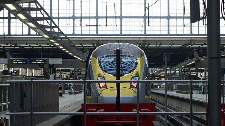 Un train Eurostar à la gare St Pancras de Londre. (NIKLAS HALLE'N / AFP)