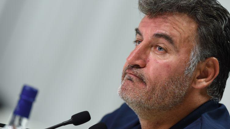 L'entraîneur de l'AS Saint-Etienne, Christophe Galtier, en conférence de presse (MEHDI FEDOUACH / AFP)
