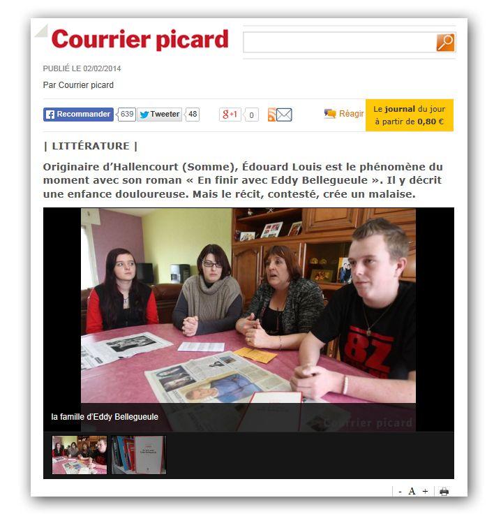 La famille Bellegueule dans Le Courrier Picard  (Copie d'écran Courrier Picard)
