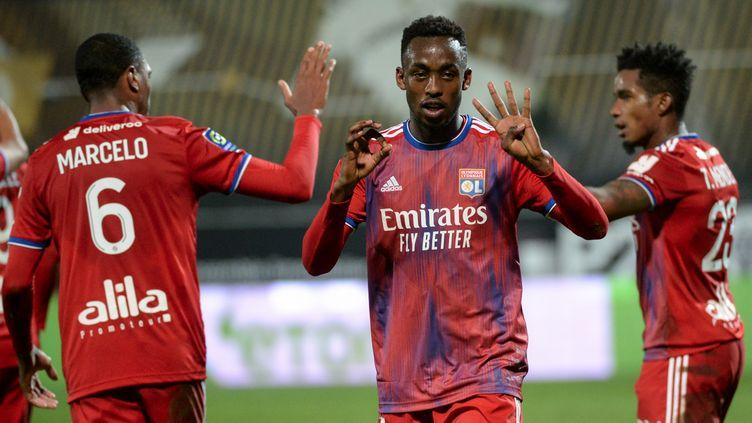 Tino Kadewere, unique buteur de la rencontre face à Angers (JEAN-FRANCOIS MONIER / AFP)