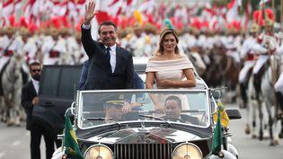 Jair Bolsonaro, le nouveau président du Brésil, lors de la cérémonie de prestation de serment à Brazilia (Brésil), le 1er janvier 2019. (RICARDO MORAES / REUTERS)