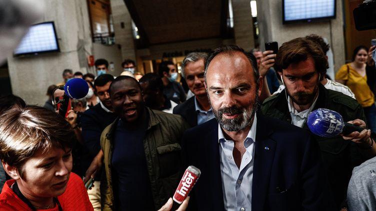 Le Premier ministre, Edouard Philippe, après sa réélection au Havre, lors du second tour des élections municipales, le 28 juin 2020. (SAMEER AL-DOUMY / AFP)