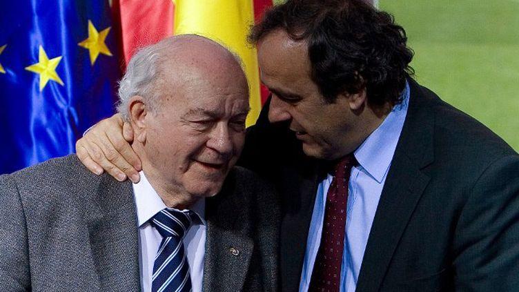 "Michel Platini s'est dit ""profondément attristé"" par la mort d'Alfredo Di Stefano. (ANGEL NAVARRETE / AFP)"