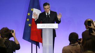 François Fillon reconnaît sa défaite au premier tour de l'élection présidentielle, le 23 avril 2017, à son QG de campagne. (MAXPPP)