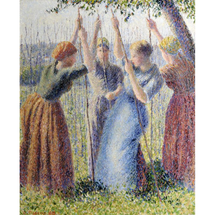 """Camille Pissarro, """"Paysannes plantant des rames"""", 1891, Sheffield, Museums Sheffield, dépôt d'une collection particulière  (Sheffield, Museums Sheffield )"""