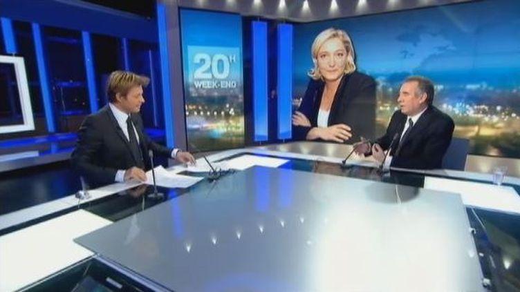 François Bayrou sur le plateau du JT de 20 heures de France 2, le 13 février 2012. (FTVI / FRANCE 2)