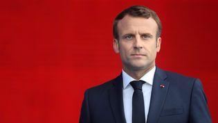 Emmanuel Macron lors de la cérémonie internationale du 75e anniversaire du Débarquement à Portsmouth, sud de l'Angleterre, le 5 juin 2019. (CHRIS JACKSON / AFP)