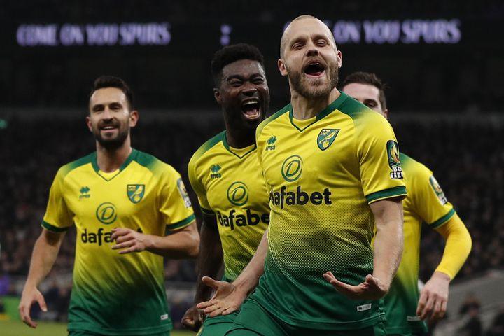 Teemu Pukki sous les couleurs de Norwich. (ADRIAN DENNIS / AFP)