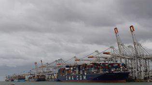 Porte-conteneurs à quai dans le bassin de Port 2000, au Havre (Seine-Maritime). Au premier plan, le CMA-CGM Bougainville, l'un des plus gros du monde. (GREGOIRE LECALOT / FRANCEINFO / RADIO FRANCE)