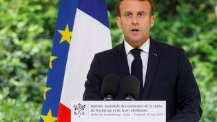 Emmanuel Macrons'exprime le 10 mai 2019 à Paris. (PHILIPPE WOJAZER / POOL / AFP)