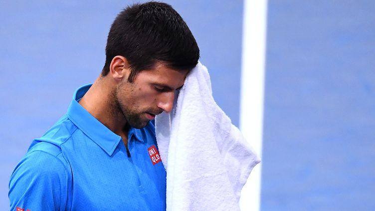 Eliminé en quart de finale, Djokovic risque bien de perdre sa place de numéro 1 mondial.  (FRANCK FIFE / AFP)
