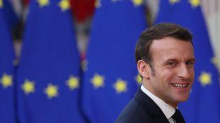 Le président de la République Emmanuel Macron au conseil européen à Bruxelles (Belgique), le 20 février 2020. (ARIS OIKONOMOU / AFP)