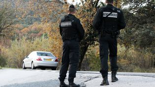 Des gendarmes patrouillent le long d'une route de La Mole, près de Saint-Tropez (Var), le 8 décembre 2015, pour retrouver l'auteur présumé du meurtre d'un policier municipal de Cavalaire-sur-Mer. (JEAN-CHRISTOPHE MAGNENET / AFP)