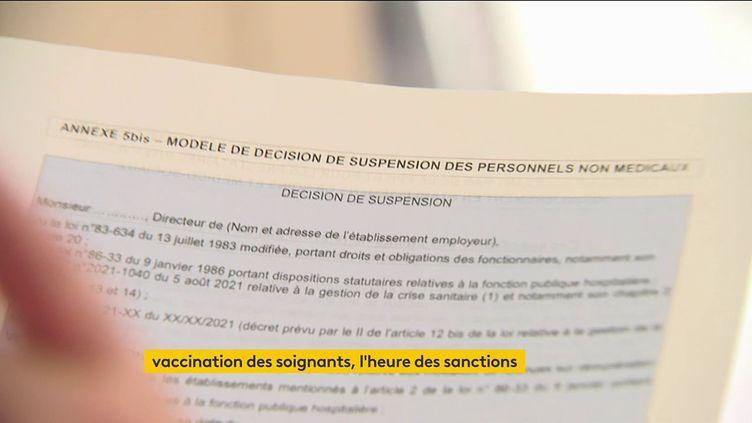 Un modèle de lettre de suspension d'un salariéd'un hôpital ou d'un Ehpad non vacciné contre le Covid-19 (FRANCEINFO)