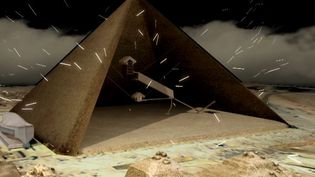 Capture écran de la vidéo de Scan Pyramids, sur la découverte d'unecavité dans la pyramide de Khéops, jeudi 2 novembre 2017. (SCANPYRAMIDS)