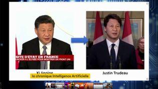 """La tête de Xi Jinping a remplacé le visage de Justin Trudeau, principe du """"deepfake"""" (FRANCEINFO)"""