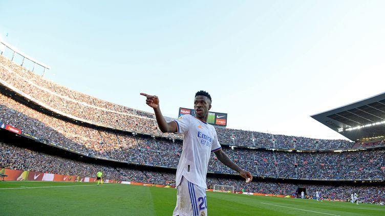 Vinicius Junior, victime d'insultes racistes sur le terrain de Barcelone dimanche. (JOAN VALLS / NURPHOTO)